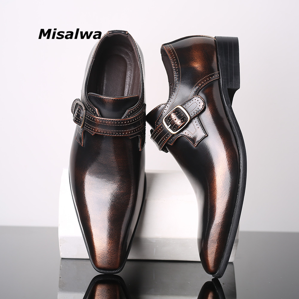 Misalwa Pointed Toe Elegant Men's Dress Single Loafers Buckle Party Business Office Formal Shoes Leather Loafers Men Shoes 38-48