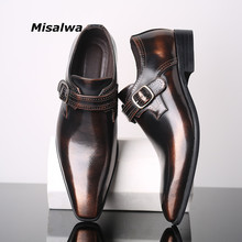 Misalwa Pointed Toe Elegant Mens Dress Single Loafers Buckle Party Business Office Formal Shoes Leather Men 38-48