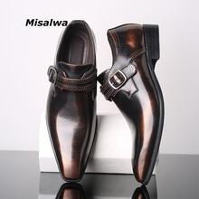 Misalwa Spitz Elegante herren Kleid Einzel Faulenzer Schnalle Party Business Büro Formale Schuhe Leder Müßiggänger Männer Schuhe 38 48
