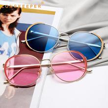 LongKeeper New Round Sunglasses Women Brand Design Ocean color Gradient Luxury Retro Metal Sun Glasses Oculos De Sol Gafas