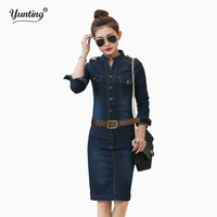 S XL XXL Female Ladies Casual Denim Dress Plus Size Vintage Jeans Dresses Long Sleeve Blue