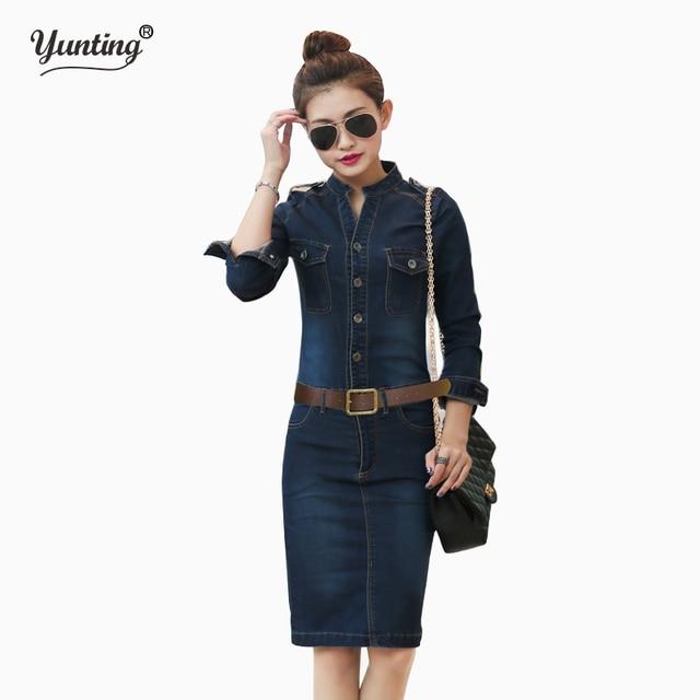 e752a588a S XL XXL الإناث/السيدات عارضة الدنيم اللباس خمر الجينز فساتين طويلة الأكمام  الأزرق جديد