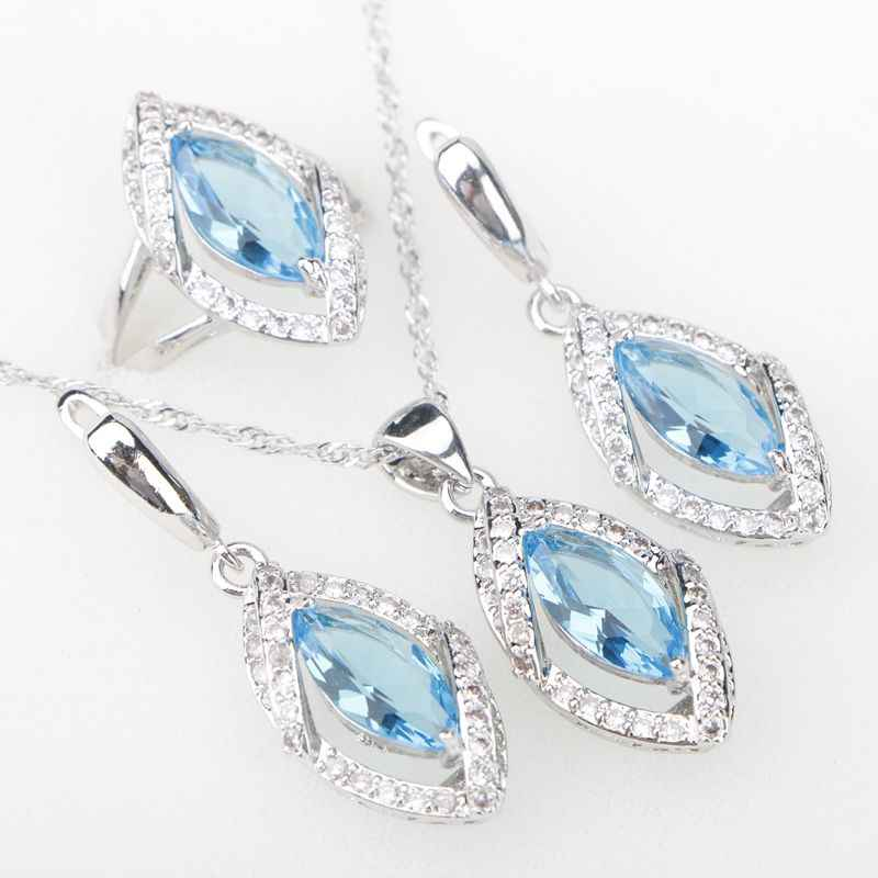 80c541111 Sky Blue CZ Silver 925 Costume Jewelry Sets Eyes Pendant Necklace Rings  Earrings With Stones Women's