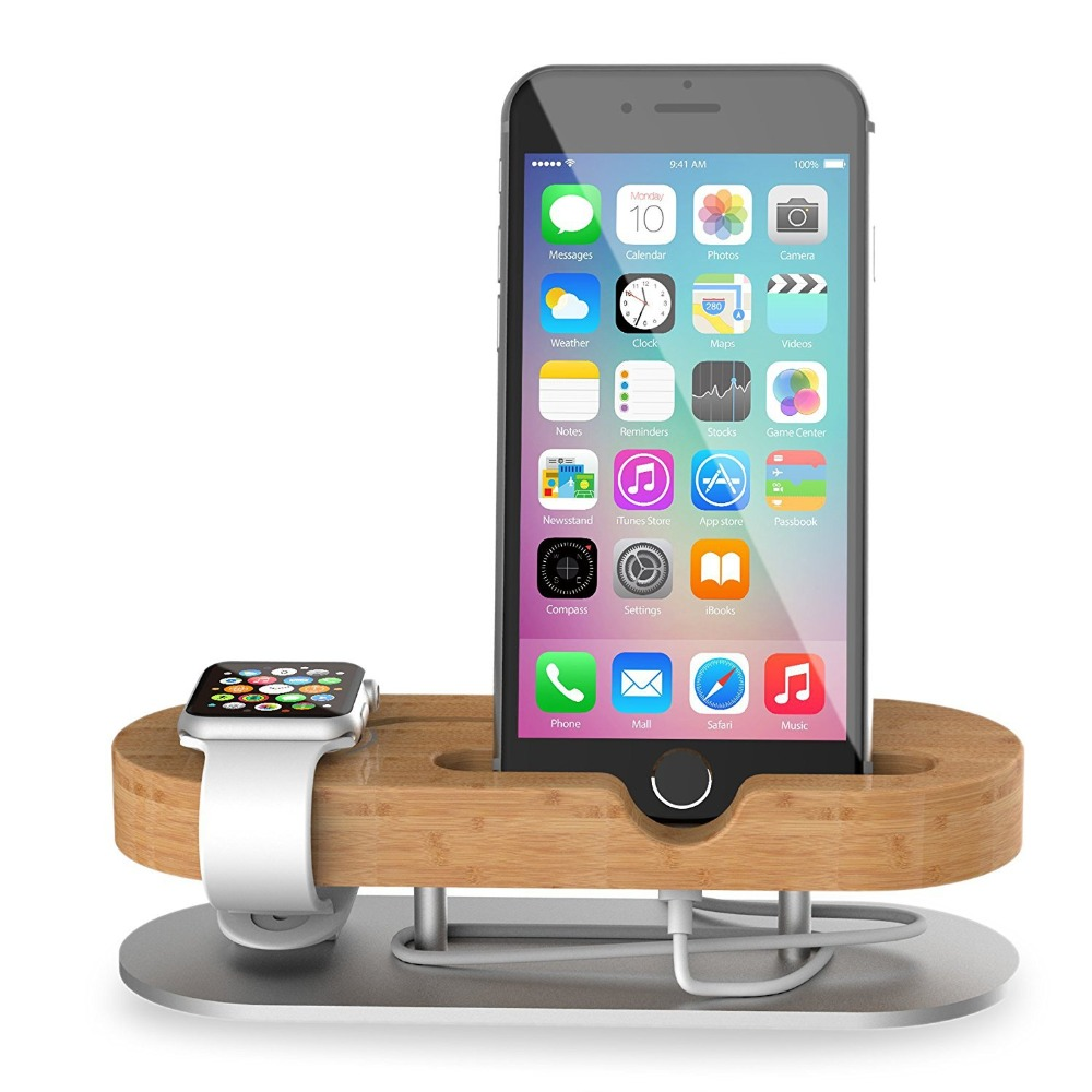Bamboo Wooden USB Charge Dock Mobile Phone Holders Stands for apple watch for iPhone Desktop finishing 2 in 1 Phone Stand 2017