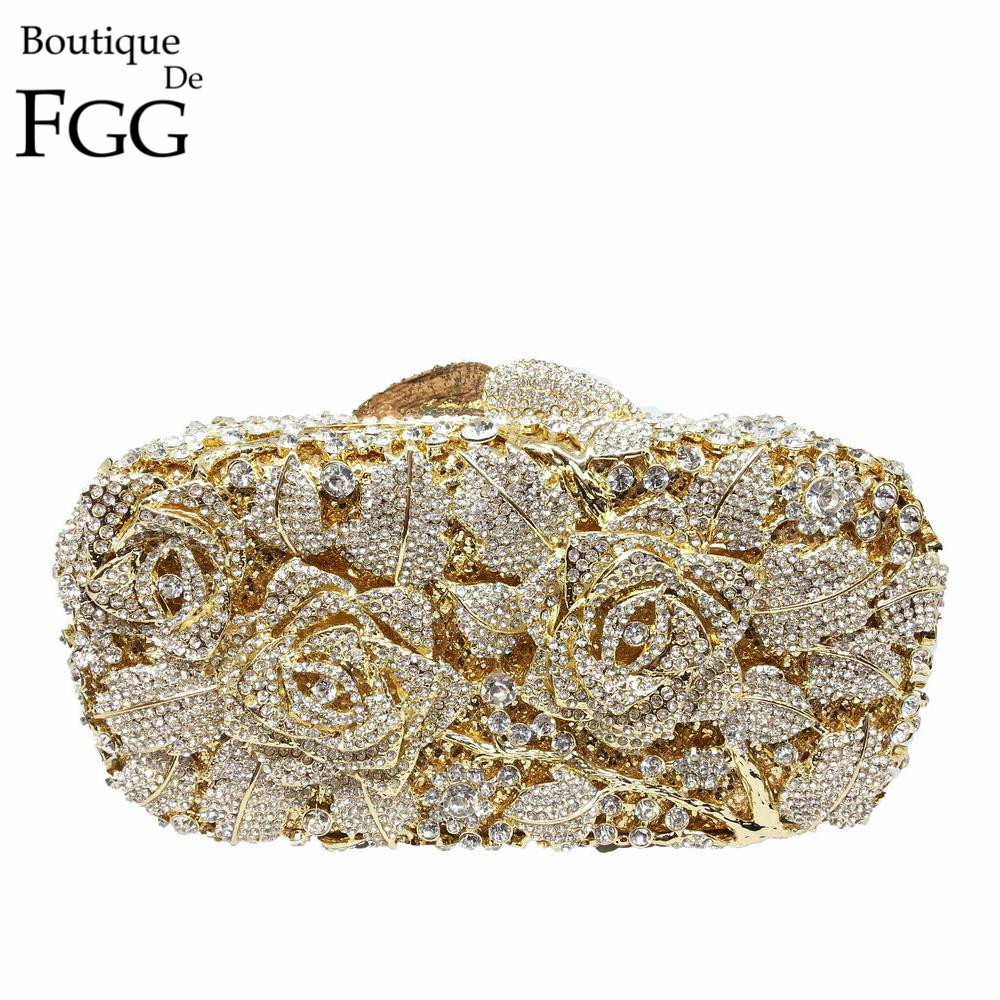 Bridal Metal Clutch Floral Rose Bag Women Crystal Gold Evening Bag Wedding Party Handbags Purse Lady