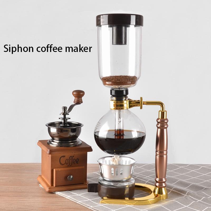 Japanese Style Siphon Coffee Maker Tea Siphon Pot Vacuum Coffeemaker Glass Type Coffee Machine Filter Kahve Makinas 3cup 5cup 6