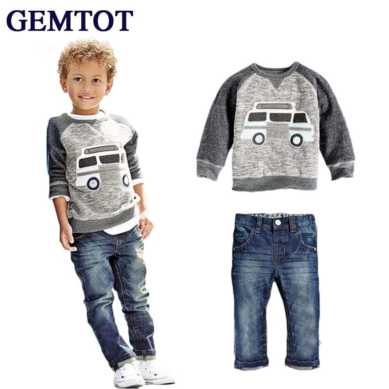 GEMTOT 2017 Kids Clothing Sets Baby Boys Girls Cartoon Elephant Cotton Winter Children Clothes Child T