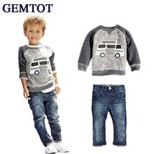 GEMTOT 2017 Enfants Vêtements Ensembles Bébé Garçons Filles Éléphant de Bande Dessinée Coton D'hiver Enfants Vêtements Enfant T-Shirt + jeans pantalon Costume