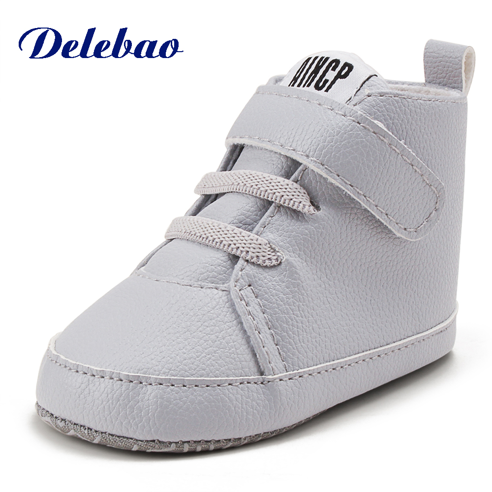 Delebao Pu Leather Hook & Loop Baby Shoes Cotton Soft Sole Infrant Toddler Baby Boy Shoes