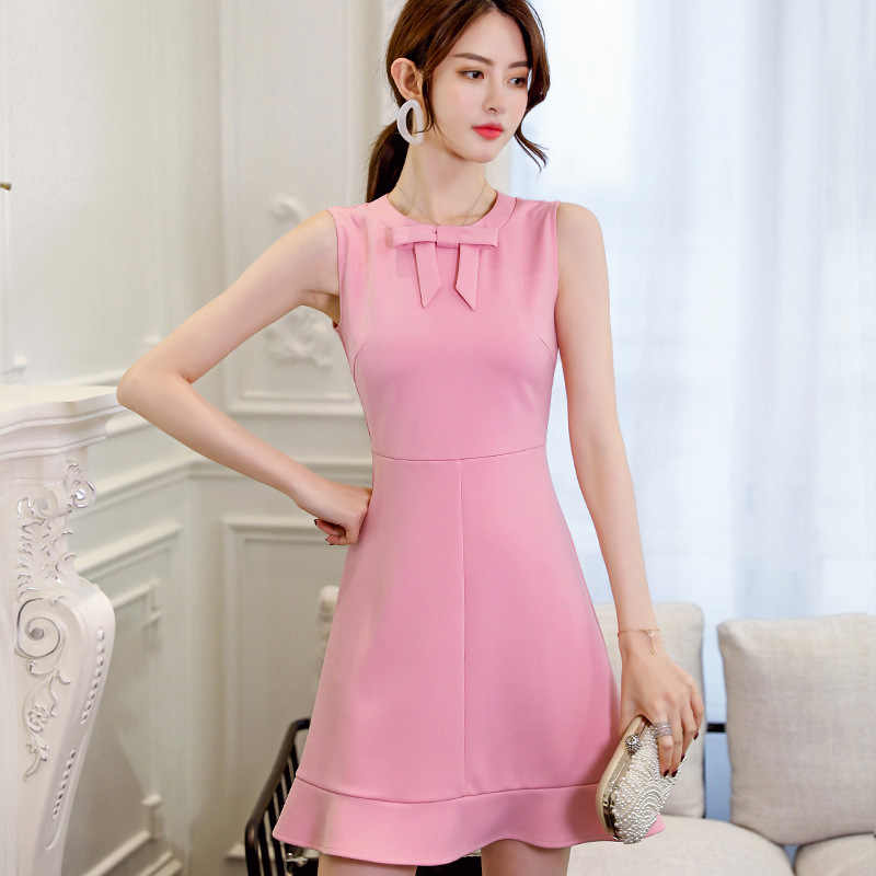 ... New 2018 Summer Fashion Women Dress Sleeveless Solid Color Casual  Sheath Party A-line Dresses ... 9370ef416977