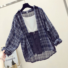 Fashion Plaid Women Tops and Blouses Female Casual Matching Color Long Sleeve Button Loose Shirt Top blusas mujer de moda