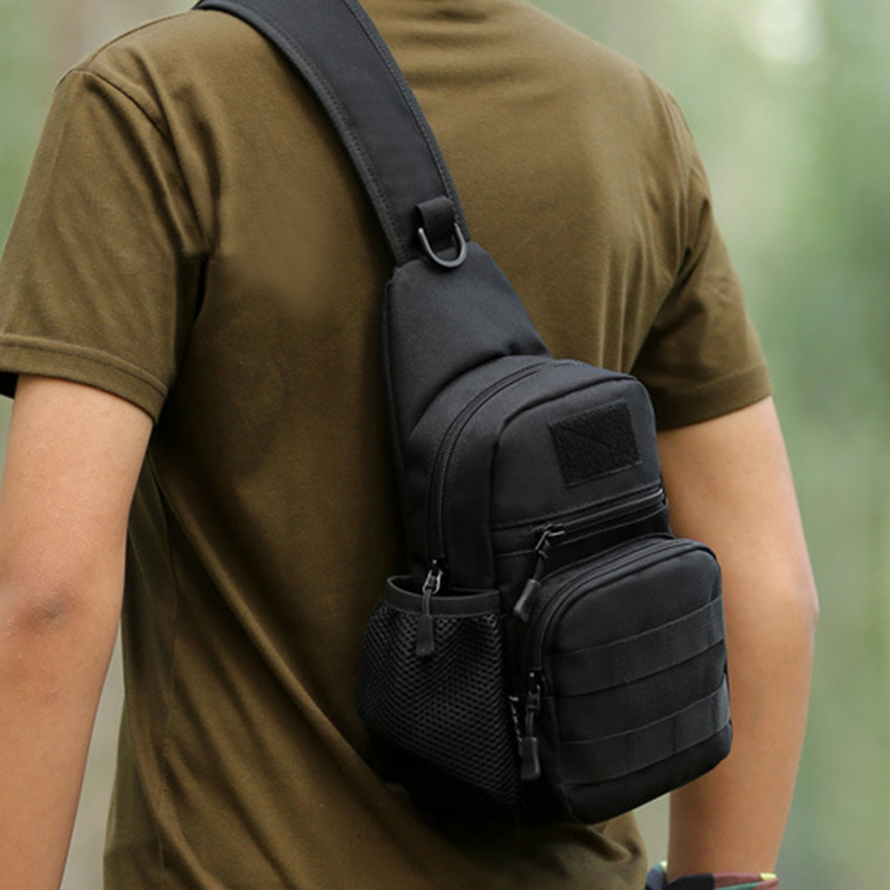 Molle 900D Tactical Chest Bag Men Hunting Shoulder Bag with Bottle Pouch Nylon Outdoor Spo