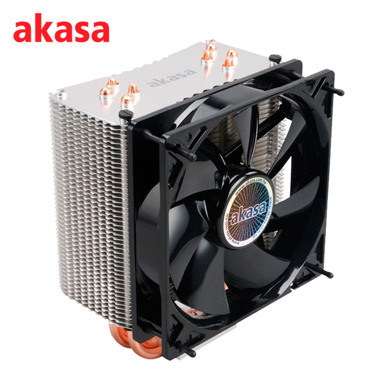 AKASA 120mm PC Cooling Fan CPU Cooler 12V Premier Cooler 4Pin PWM 4 Copper Heatpipe Radiator for Intel LGA775/115X for AMD AM2+ pcooler s90f 10cm 4 pin pwm cooling fan 4 copper heat pipes led cpu cooler cooling fan heat sink for intel lga775 for amd am2