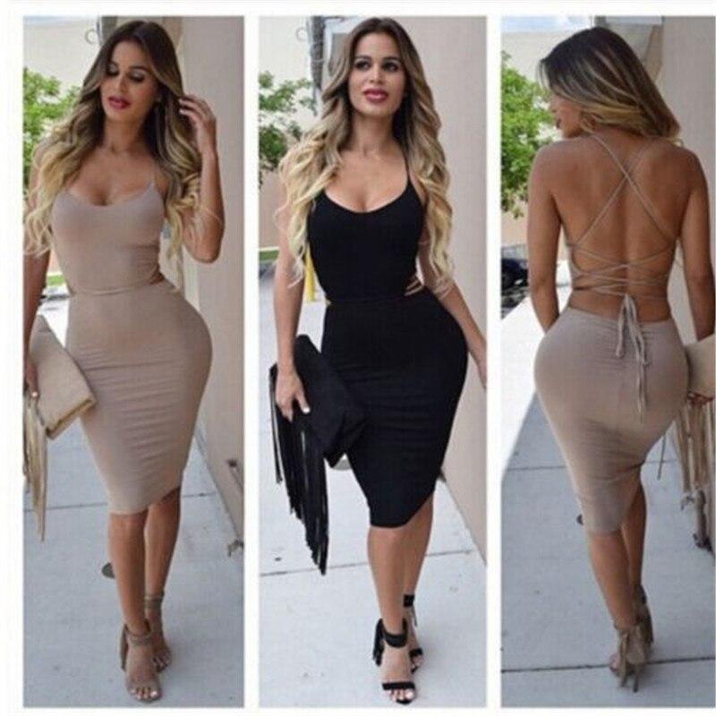 Sexy Women Low Cut Package Hip Dress Bodycon Bandage Sleeveless Clubwear  Slim Night Party Wear Strappy Mini Dress 0fc97fd06