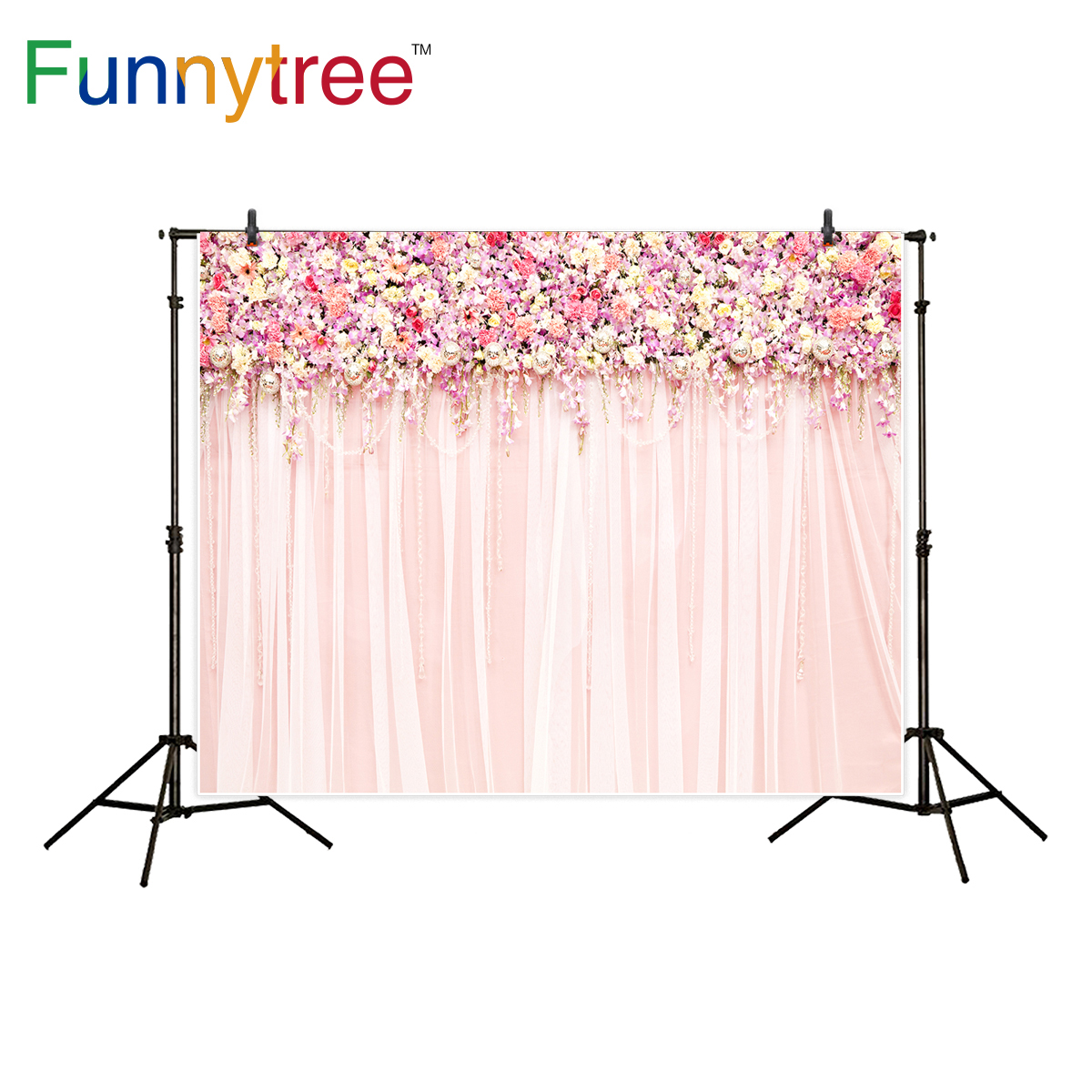 Funnytree photography background wedding flower pink decor wall sweet  backdrop photocall photo studio printed