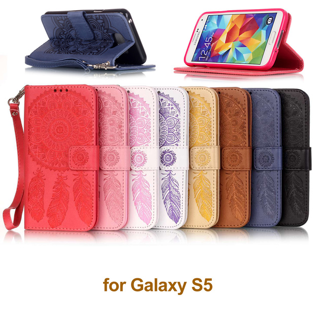 """Flip Case For Samsung S5 Case Cover Galaxy S 5 bag embossed leather case for 5.1"""" Coque Samsung S5 phone case SM-G900F SM-G903F"""