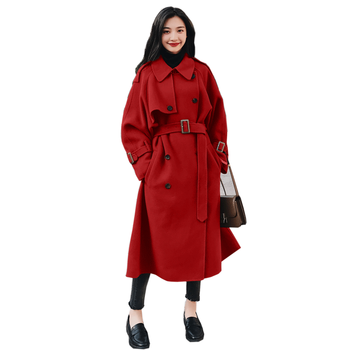 KMETRAM Woolen Winter Warm Coats And Jackets Women Vintage Loose Double Breasted Casual Autumn Long Coat Casaco Feminino MY149