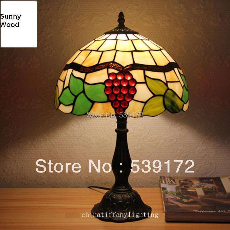Free Shipping 12Inch Shell lamp, tiffany lamp,Free 5W E27 LED Bulb for promotion, table Lamp for living room 90-260VAC TEN-T-076