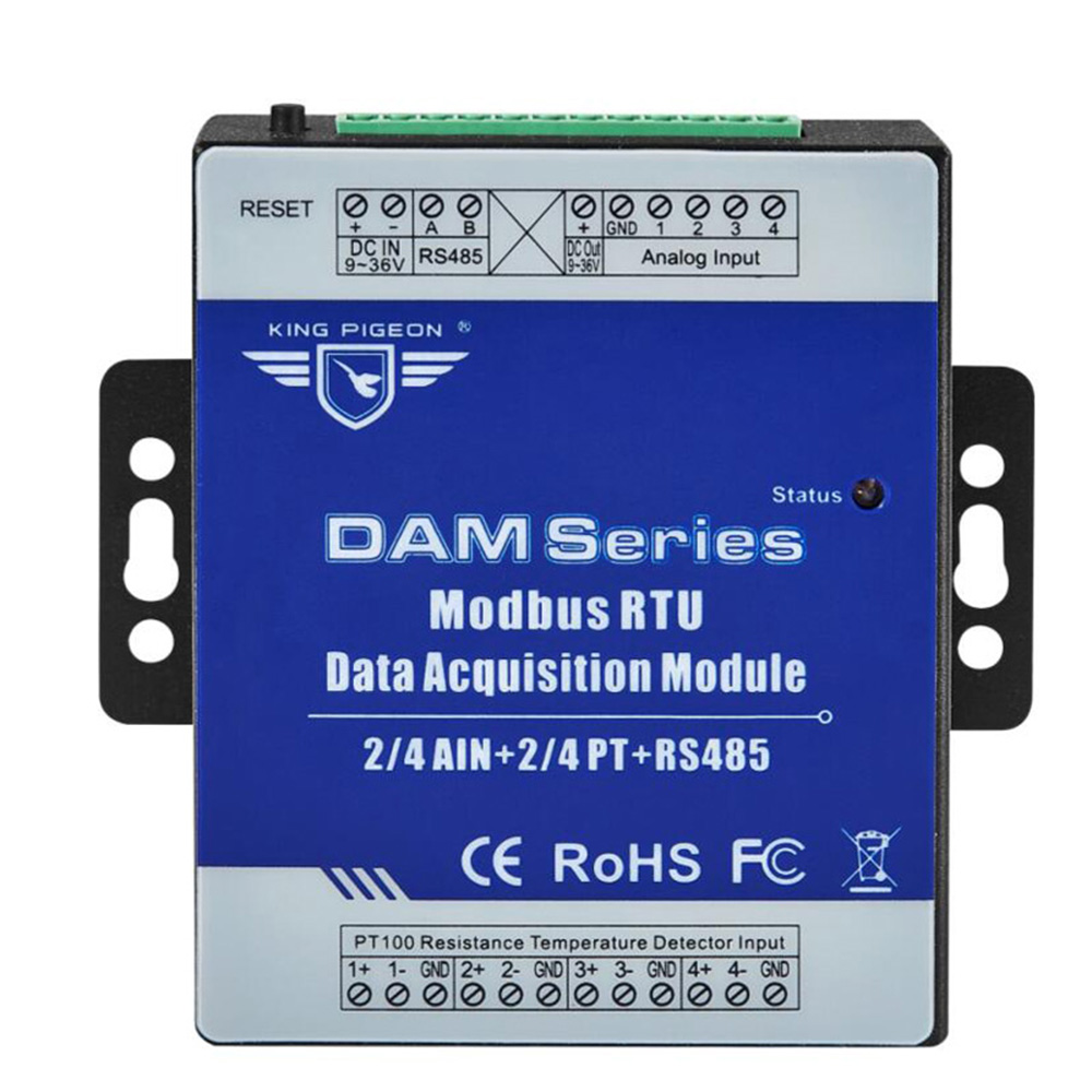 RS485 Modbus RTU Module 2-channel PT100 Resistance Thermometer Inputs Data Logger Module DAM118