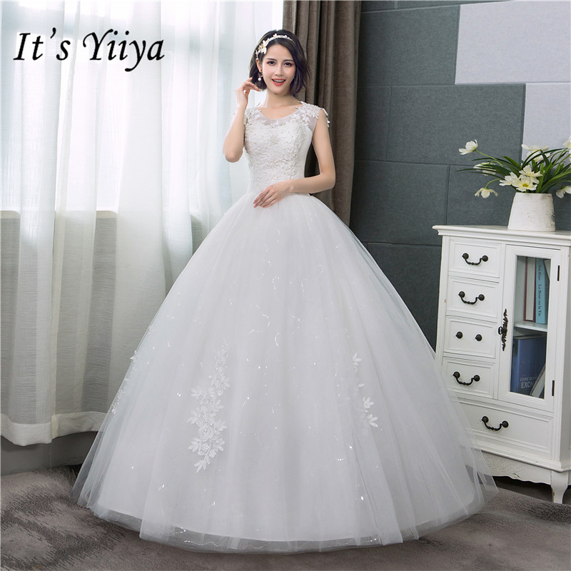 It's YiiYa Off White Sleeveless Wedding Dresses Simple O-neck Back Lace Up Wedding Gown HS282