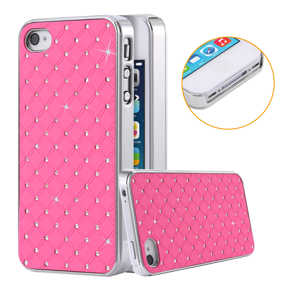 iPhone 4S Mobile Phone Cases Fashion Crystal Diamond PU Leather Case Apple 4 4G Sliver Metal Plated Cover Bag - Three-A Group Co.,Ltd store