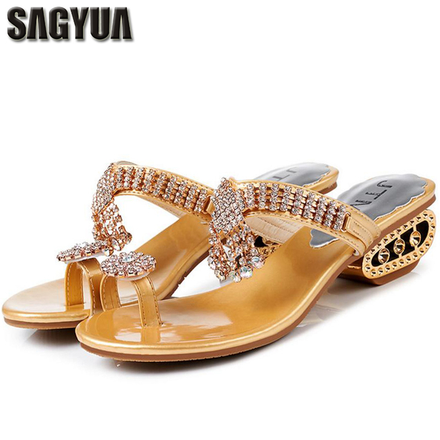 44110043ac4e7d SAGYUA HOT Summer Maiden Women Luxurious Rhinestone Babouche Shoes Thong  Sandal Wedge Beach Flip Flops Wedge Heels Slippers T096