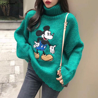 BCM Mickey Mouse Thick Turtleneck Warm Women Sweater Fashion Loose Jumpers Knitting Pullovers 2018 winter Cartoon New female