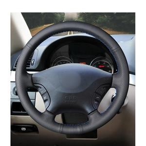 Image 2 - Hand genäht Schwarz PU Künstliche Leder Auto Lenkrad Abdeckung für Mercedes Benz W639 Viano Vito Volkswagen VW Crafter