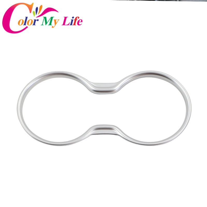 Color My Life ABS Chrome Car Interior Moulding Water Cup Decoration Circle Trim Sticker for Jeep Compass 2017 2018 Accessories