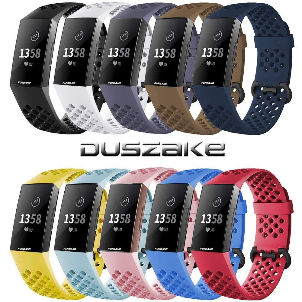 Duszake Accessories For Fitbit Charge 3/Charge 3SE Band Silicone Waterproof Wristband Replacement Band For Fitbit Charge 3 Strap