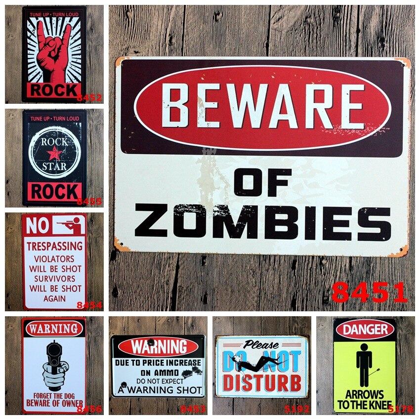 Наклейки на стену 20*30 см плакат Домашний Декор рок предупреждение Остерегайтесь стены decalsmetal олова признаки пластины живописи новый Домашн...