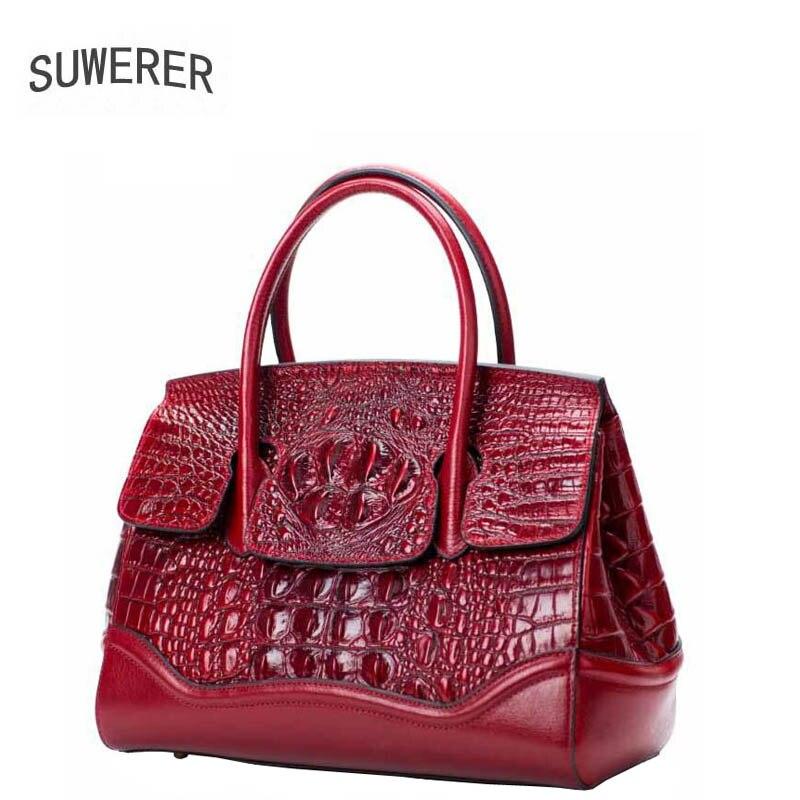 SUWERER 2018 New Supérieure en cuir véritable femmes sacs à main Crocodile motif peau de vache de luxe sacs à main femmes sacs