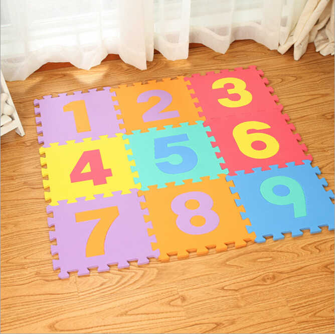 10 Pieces Solid Soft Eva Foam Mat Baby Crawling Mat Educational