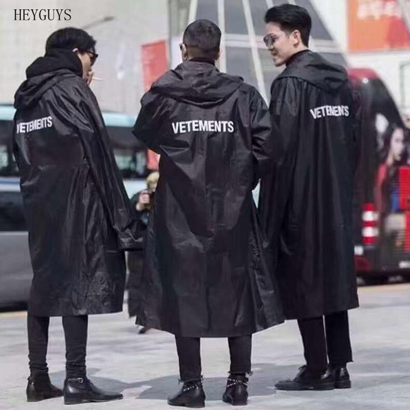 HEYGUYS 2019 New hip hop kanye west fashion Letter Printed Vetements Oversized men women windbreaker waterproof raincoat jacket