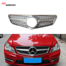 Mercedes W204 ABS front bumper diamonds grill with MB Star badge for Benz c class 2007 – 2014 C180 C200 C250 C300 C350 Chrome