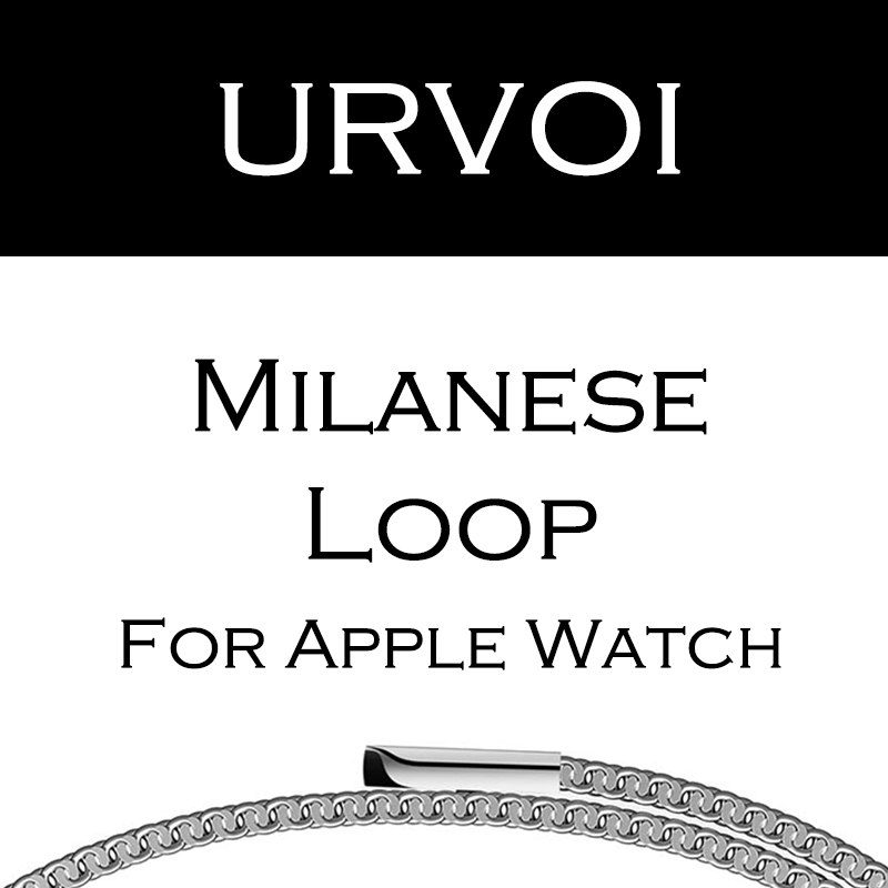 URVOI milanese loop for apple watch band Series 3 2 1 strap for iwatch stainless steel Magnetic adjustable buckle with adapters