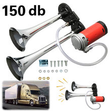 Lorry Horn Dual Trumpet Air Car Horns with Compressor 12V 150db Loud Truck Boat Car Van Tractor(China)