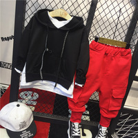 2pcs boys fashion clothing set kids fake two hoodies and red pant set baby all match casual clothes children 2 7 years old