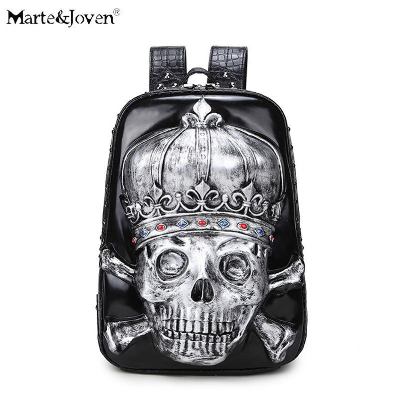 Personalized Punk Style Antique 3D Crown Skull Backpack Women Men Brand Designer PU Leather Retro Rivet Black Laptop Backpacks retro rivet backpacks 2017 hip hop pu leather men s backpacks vintage punk skull women teenage backpacks bolsas mochilas