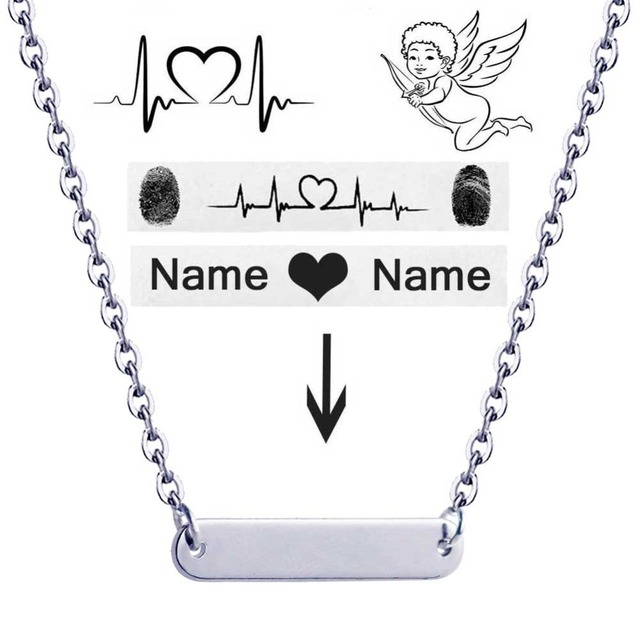 3130e8468 Personalized Custom Nameplate Bar Necklace Gold Engraved Date Name Pendant  Necklace For Women Jewelry Valentine's Gift