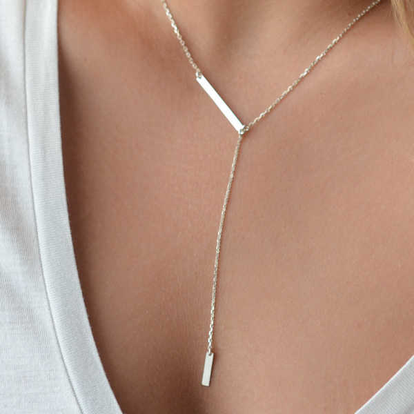 Multi Strand Necklace Sterling Silver Gold Filled Bar Y Style Minimlaist Jewelry Simple Delicate Lariat Necklaces Two Tone Women Gift