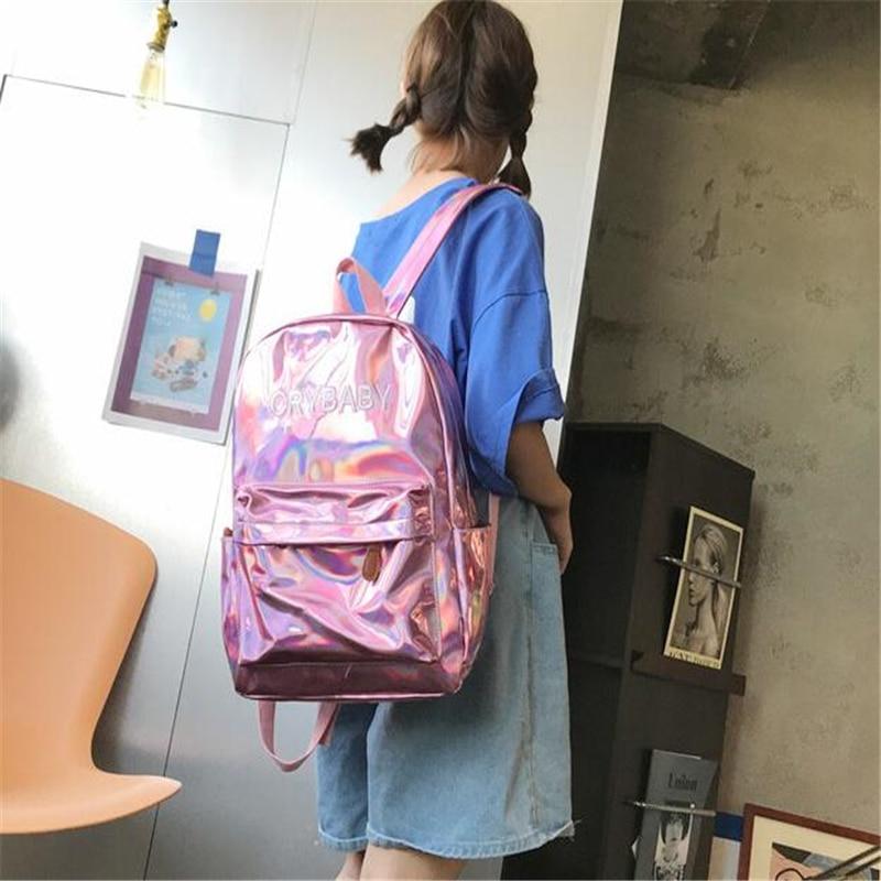 HTB1FiDXbBGw3KVjSZFwq6zQ2FXae Yogodlns 2019 Holographic Laser Backpack Embroidered Crybaby Letter Hologram Backpack set School Bag +shoulder bag +penbag 3pcs