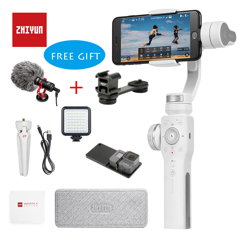 Zhiyun Smooth 4 Handheld 3 Axis Brushless Gimbal Stabilizer for iPhone X Samsung S9 Huawei P10 xiaomi 6 Gopro 5/4/3 In stock