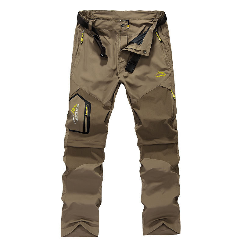 Outdoor Men's Zipper Removable Pocket Pants Fishing Quick-Dry Trousers Army Green Black Travel Pants Men's Mountaineer Pants image