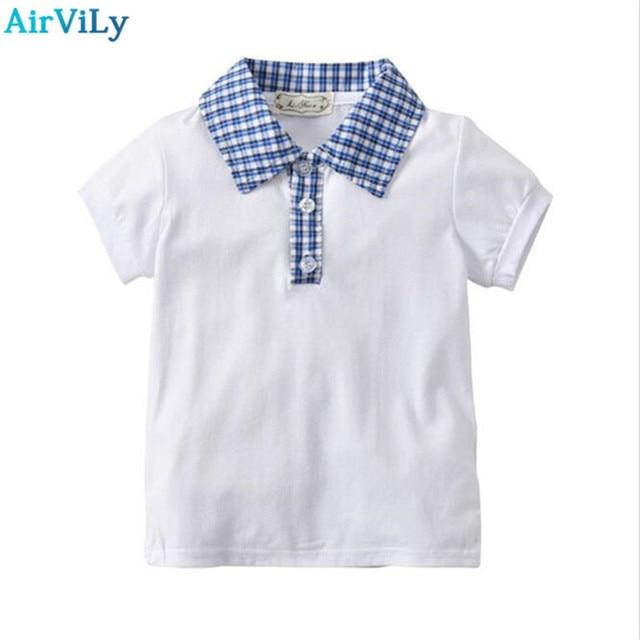 117975a77833 New 2018 Boys Shirts Baby Clothes Summer Shirt For Boy 2-7T Children s Clothing  Kids Plaid Turndown Collar Short Sleeve Shirts