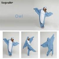 Adult Flannel Pajamas Onsies Blue OWL Costume Men Women One Piece Sleepwear Onsie Kugurumi Cheap Homedress