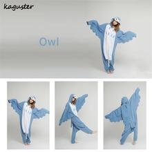 Adult Flannel Pajamas Onsies Blue OWL Costume Men Women One Piece Sleepwear Onsie Kugurumi Cheap Homedress Siamese Onsies