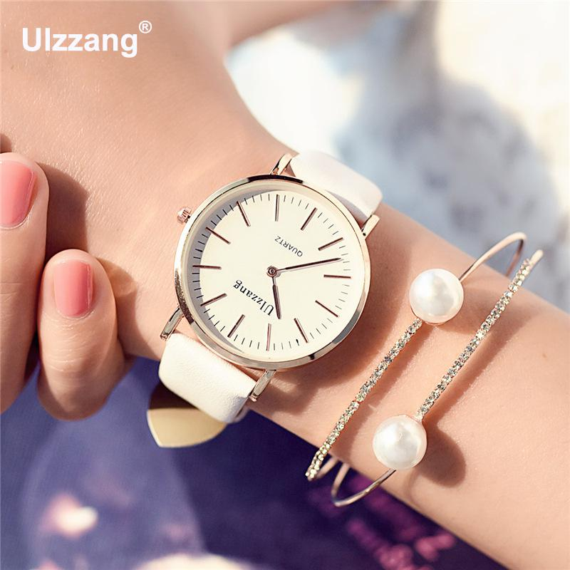 Classic Ulzzang Brand Vintage Genuine Leather Women Men Lovers Quartz Wrist Watch Gift Black White Brown