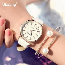 Classic Ulzzang Brand Vintage Genuine Leather Women' Men' Lovers' Quartz Wrist Watch Gift Black White Brown