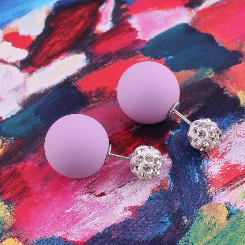 צדדים כפולים למעלה חומר חדש זורחות גביש מלא עגילי פנינת עגילי חרוז כדור גומי כפול הנשים Brincos